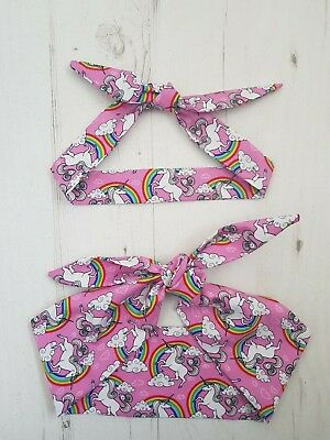 Matching Mum & Baby/Toddler Rockabilly Head Scarf - Pink Unicorn and Rainbow