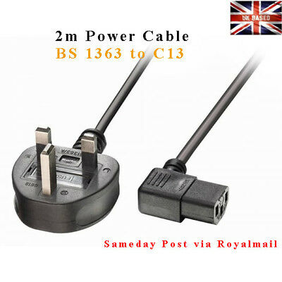 2m Power Cable - Plug BS 1363 to Right Angled IEC C13 Mains Power Cord UK