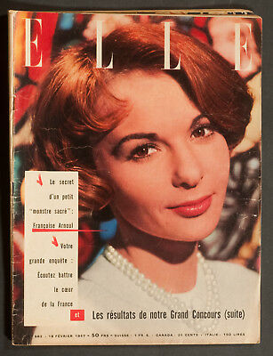 'elle' French Vintage Magazine Francoise Arnoul Cover 18 February 1957