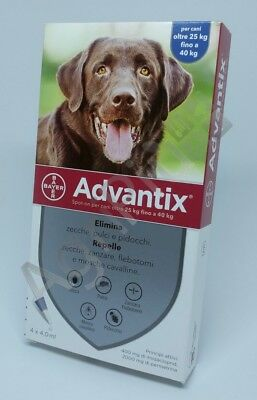 Advantix Antiparassitario spot-on per Cani 25 - 40 Kg, 4 pipette