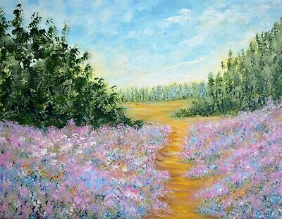 Pink Tranquility ACEO art prints from painting, Pink mauve flower landscape