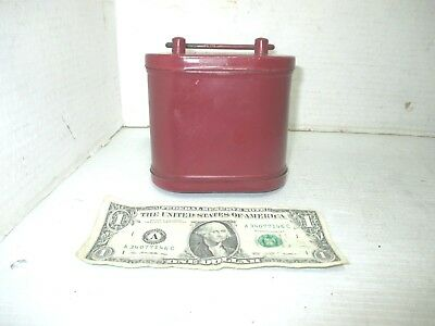 Vintage Metal Red Painted Tin Traveling Safe or Coin Bank with Key