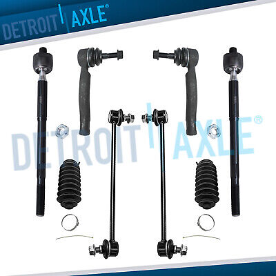 Front Sway Bar Ends Inner Outer Tie Rod + Boot Kit for 2004-2009 Toyota Prius