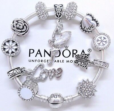 Authentic Pandora Silver Bangle Bracelet White Love Angel Heart European Charms.