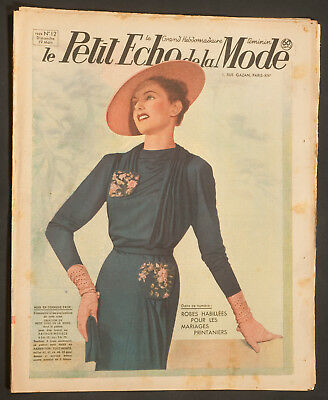 'echo De La Mode' French Vintage Newspaper Wedding Issue 19 March 1939