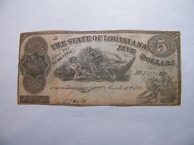 1863 $5 Note, STATE OF LOUISIANA
