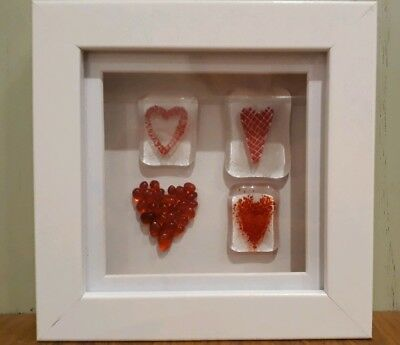 Handmade fused glass hearts in box frame, Valentine's, mothers day gift.