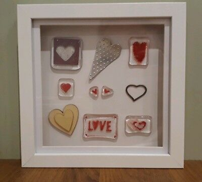 Handmade fused glass hearts+ mounted in a box frame, gift. Glass Girls & James