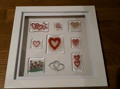 Handmade fused glass hearts+ mounted in a box frame, Valentine's, birthday gift.