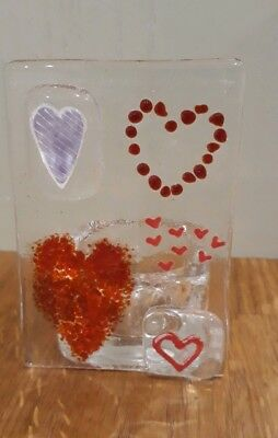 handmade fused glass hearts valentines candle holder gift by Glass Girls & James