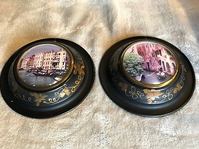 Vintage Antique Round Metal Picture Frames with Convex Glass