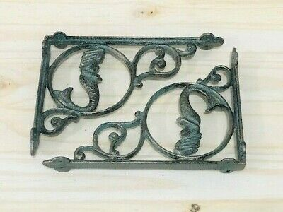 10 Cast Iron NAUTICAL MERMAID Brackets Garden Braces Shelf Bracket Corbel Beach