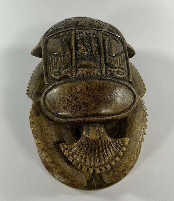 Luxor Casino Carved Scarab Beetle Figurine Egyptian Hieroglyphics Resin Stone?