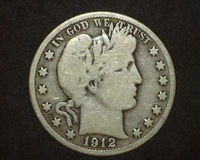 1912-D Barber Half-Dollar Silver Very Good ~394261-Lb615Ra