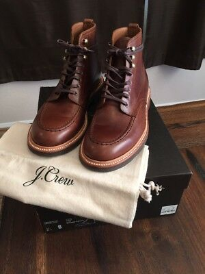 09a5fa1e967 J.CREW KENTON LEATHER Pacer Moc Toe Boots Burnished Tobacco Goodyear Welted  - 8
