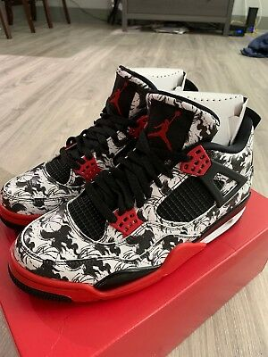 Nike Air Jordan 4 Retro Tattoo Singles Day Sz 11 5 Black Fire Red