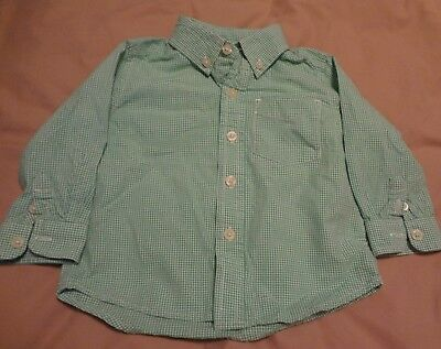 THE CHILDRENS PLACE green and white Plaid button down SIZE 18 months excellent