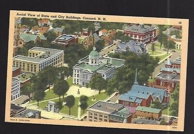 Vintage Postcard Linen State & City Buildings Concord New Hampshire