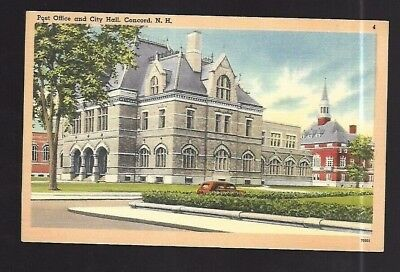 Vintage Postcard Linen Post Office & City Hall Concord New Hampshire