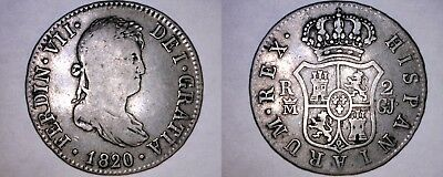 1820-GJ Spanish 2 Reales World Silver Coin - Spain