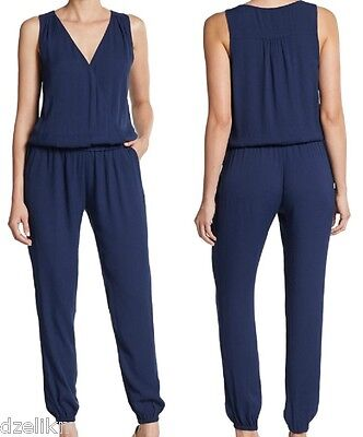 3fe340c3028 NWT  288 Joie Corrine V neck Sleeveless Jumpsuit in Dark Blue Size L
