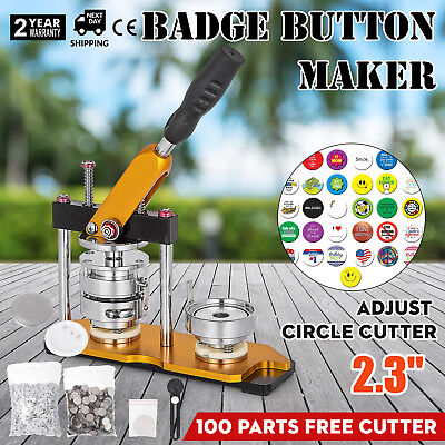 """58mm(2.28"""") Button Maker Rotate Machine 100Pcs Bottle Openers Pin Buttons Bags"""