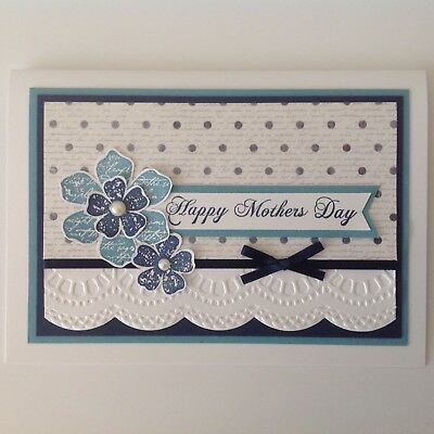 Handmade Mother's Day card: Lace daisies in blue.