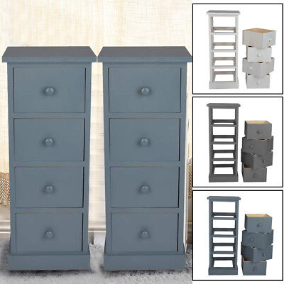 4 Drawer Pair Slim Tall Bedside Tables White Grey Graphite Bedroom Storage Uk