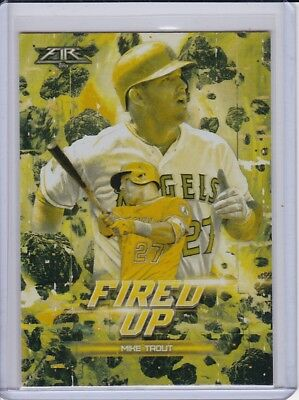 2017 Topps Fire Fired Up Gold Minted #F-5 Mike Trout Los Angeles Angels Card