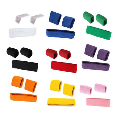 SET of Unisex Sports Sweatbands Head band Wrist Bands Cycling SWEAT BANDS