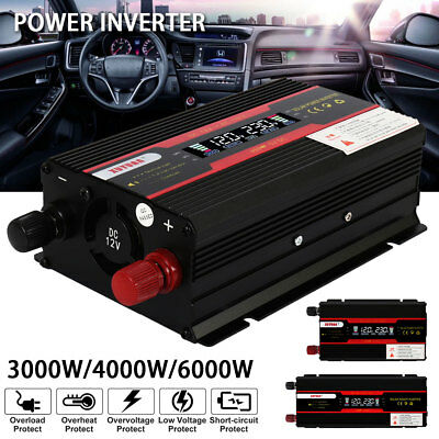 3/4/6000W Car Solar Power Inverter DC 12/24V To AC 110V USB Sine Wave Converter