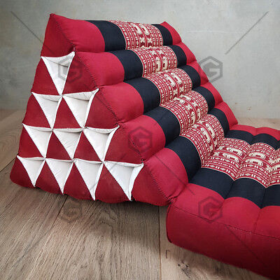Jumbo SIZE 1-FOLDS Red Elephant Thai Triangle Pillow Mattress Cushion DayBed