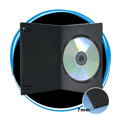 Black 7mm Slim Single CD DVD Movie Case Storage Box Wholesale Lot