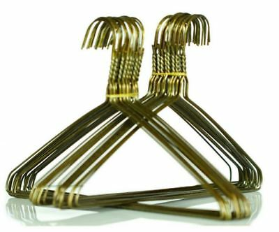 """100 x Gold Metal Wire Coat Hangers Commercial Quality 16"""" 40mm x 2.2mm FREE POST"""