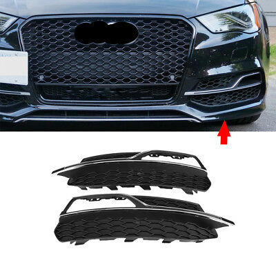 PAIR FRONT FOG LIGHT GRILLE GRILL FOR S3 STYLE FOR AUDIi A3 S-Line 8V 2013-2016
