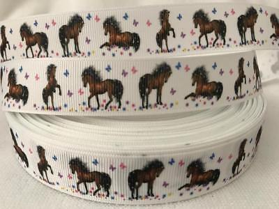 "Horse Design Grosgrain Ribbon 7/8"" wide sold by 2 M -Craft - Cake etc"