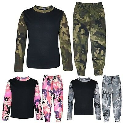 Kids Boys Girls Pjs Contrast Camouflage Plain Stylish Pyjamas Set 2-13 Years