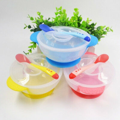 Baby Children Suction Cup Bowl Slip-resistant Tableware + Spoon Sucker Dish Set