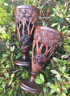 Pair Of 2 Carved Wooden Vases Cups Ornaments Elephants Jungle Tribal Carving