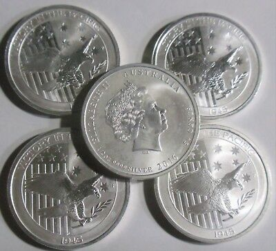 1/2 oz Australian Victory In The Pacific Silver Coin (BU) ( Lot of 5 coins)
