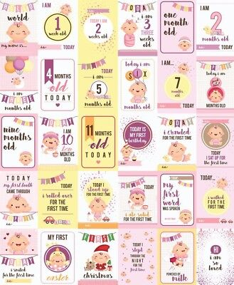 Baby Girls Moments and Milestone (milestones) Cards - Set of 30.