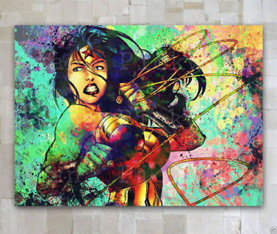 CANVAS OIL PAINTING MODERN ABSTRACT WALL DECOR ART Wonder Woman 24x36(NO FRAME)