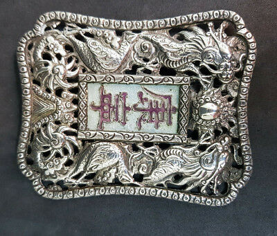 Rare Antique Chinese Export Solid Silver Dragons With Enamel Belt Buckle 25 G.