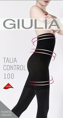 Giulia Talia Control High Waist 100 Denier Opaque Tights + Silicone Band to Hold