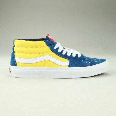 Vans Sk8 Mid Shoes Trainers Brand New in Yellow Blue in UK Size 6 13daa32fe