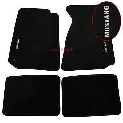 Fits 1994-1998 Ford Mustang Floor Mats Front &Rear Nylon Black w/white Embrodery