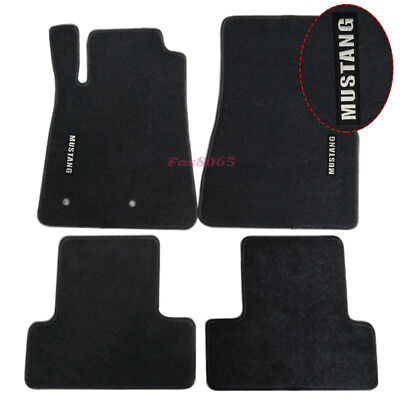 Fits 05-09 Ford Mustang Floor Mats Carpets Nylon Black w/Mustang Embrodery