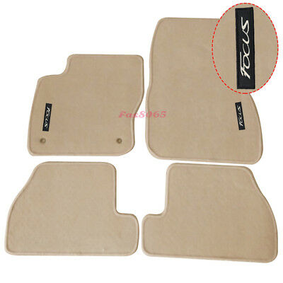 Fits 11-15 Ford Focus Beige Nylon Floor Mats Carpets w/ Focus Embroidery