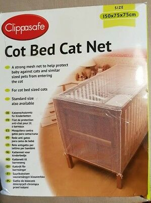 CLIPPASAFE Cot Cotbed Cat Net Insect Protection Bed NETTING SAFETY - White Net
