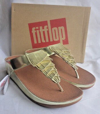 8e8344f153bde9 New Fitflop Cha Cha Fringe Toe Thong Metallic PU Gold ToePost Sandals Box  Size 7